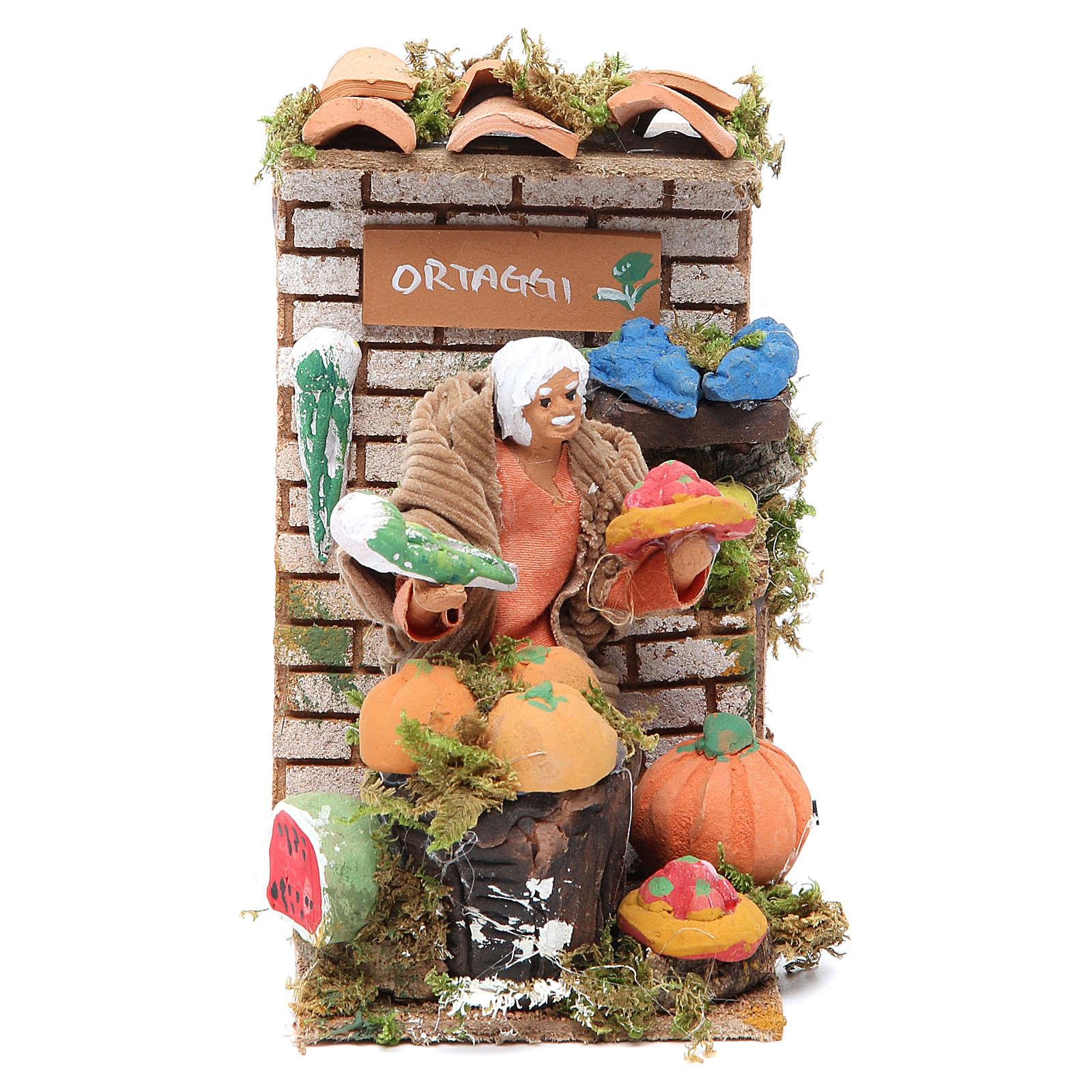 Movimiento Belén 10 cm tienda con verduras 3