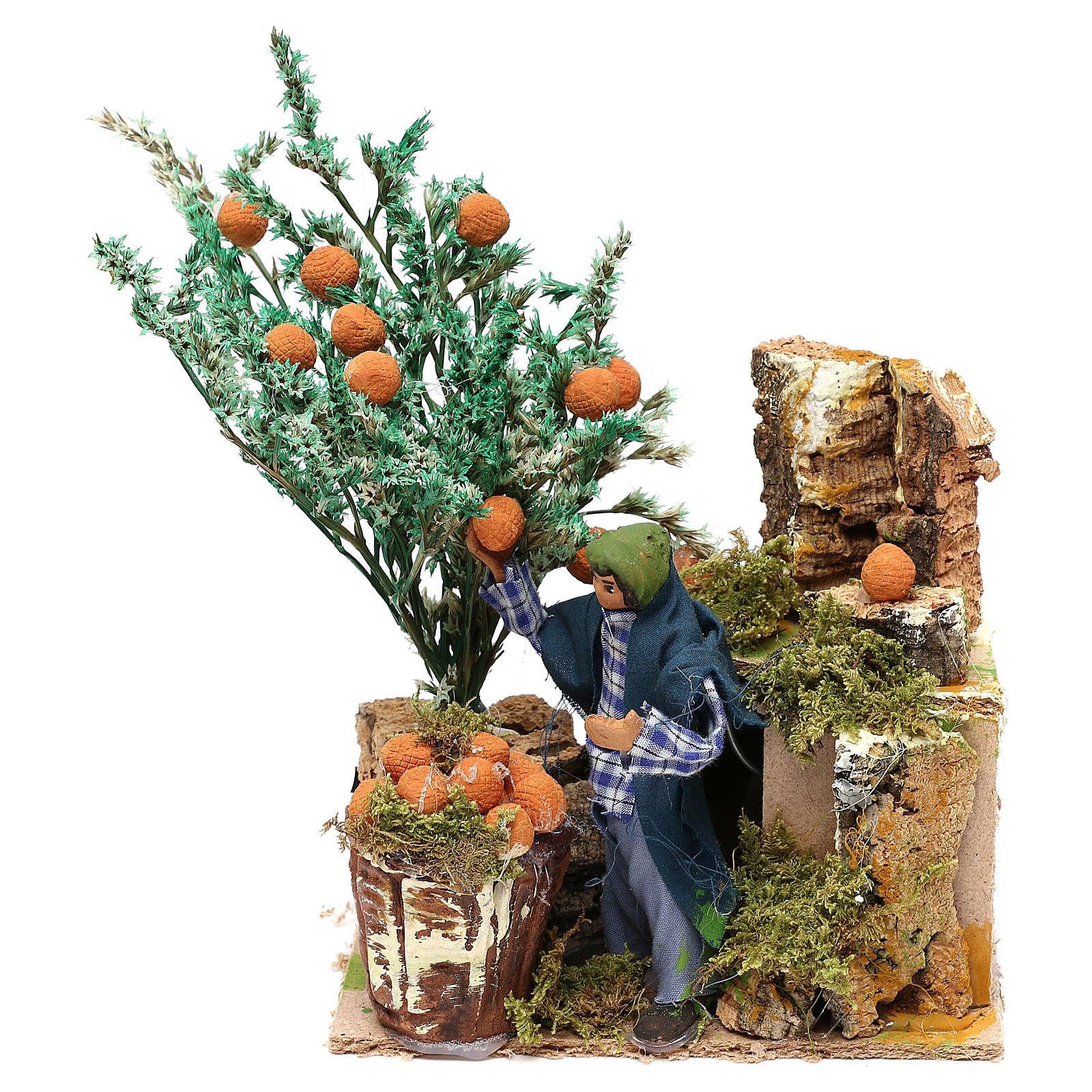 Cueilleur d'oranges 10 cm mouvement crèche 3