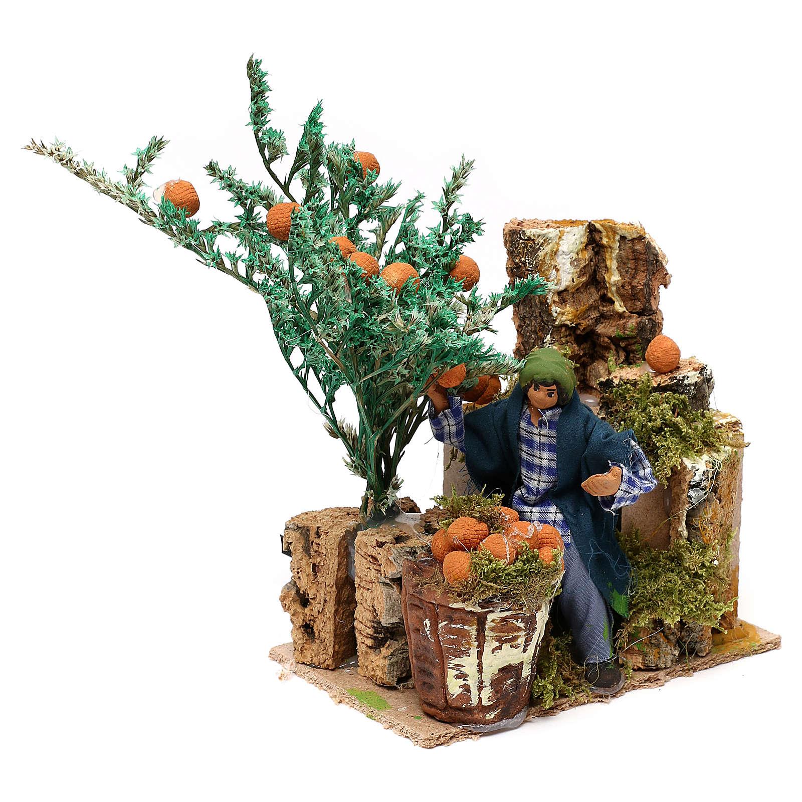 Homem que colhe laranjas 10 cm movimento presépio 3