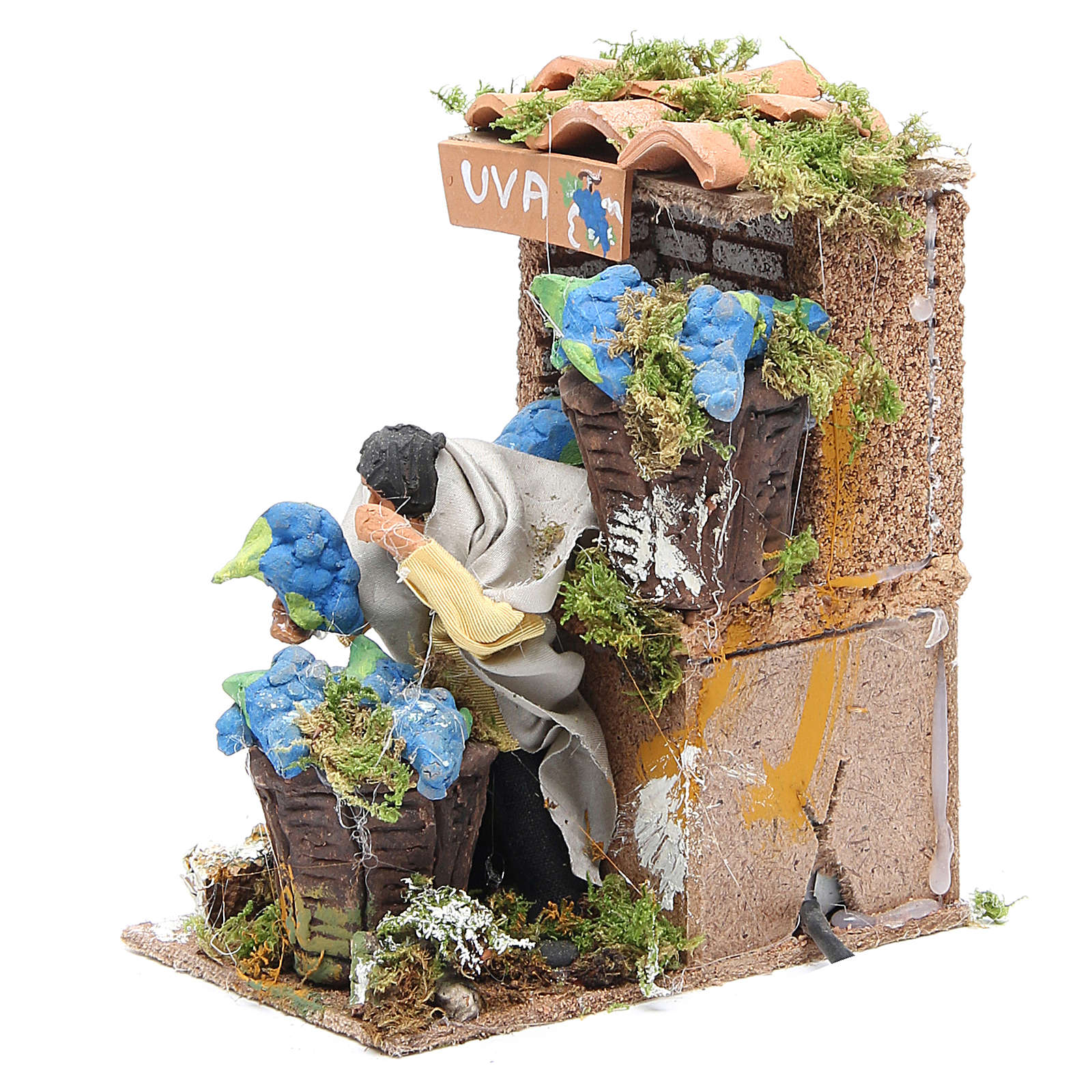 Grapes seller measuring 7cm, animated nativity figurine 3