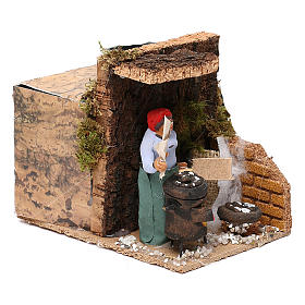 Woman with chestnuts measuring 7cm, animated nativity figurine s3