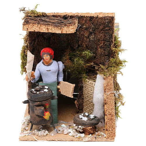 Woman with chestnuts measuring 7cm, animated nativity figurine 1