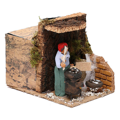 Woman with chestnuts measuring 7cm, animated nativity figurine 3