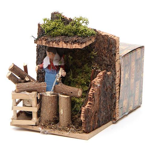 Woodsman measuring 7cm, animated nativity figurine 6