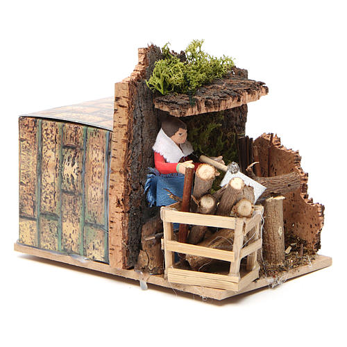 Woodsman measuring 7cm, animated nativity figurine 7