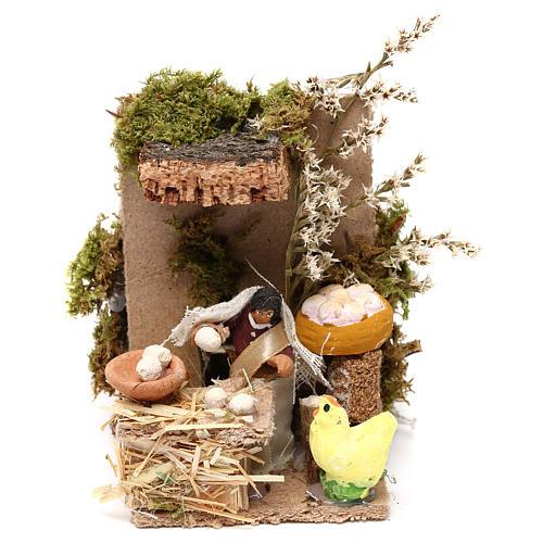 Egg seller measuring 4cm, animated nativity figurine 1