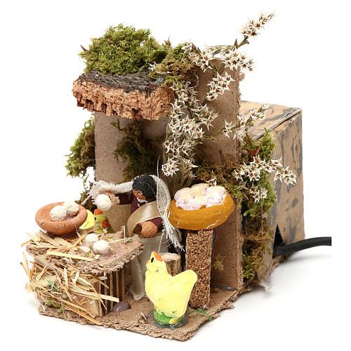 Egg seller measuring 4cm, animated nativity figurine 2