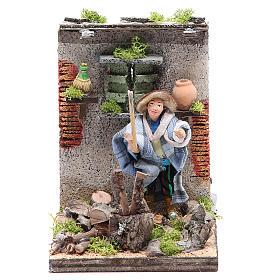 Woodcutter measuring 10cm, animated nativity figurine s1