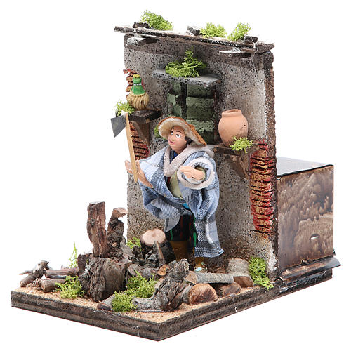 Woodcutter measuring 10cm, animated nativity figurine 2