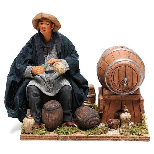 Neapolitan Nativity figurine, drunkard with 2 movements 24cm 1