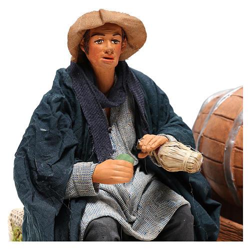 Neapolitan Nativity figurine, drunkard with 2 movements 24cm 2