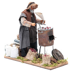 Animated Neapolitan Nativity figurine chestnut seller 24cm s3