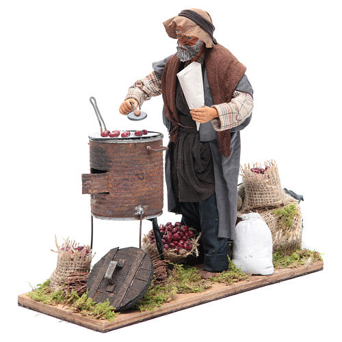 Animated Neapolitan Nativity figurine chestnut seller 24cm 2