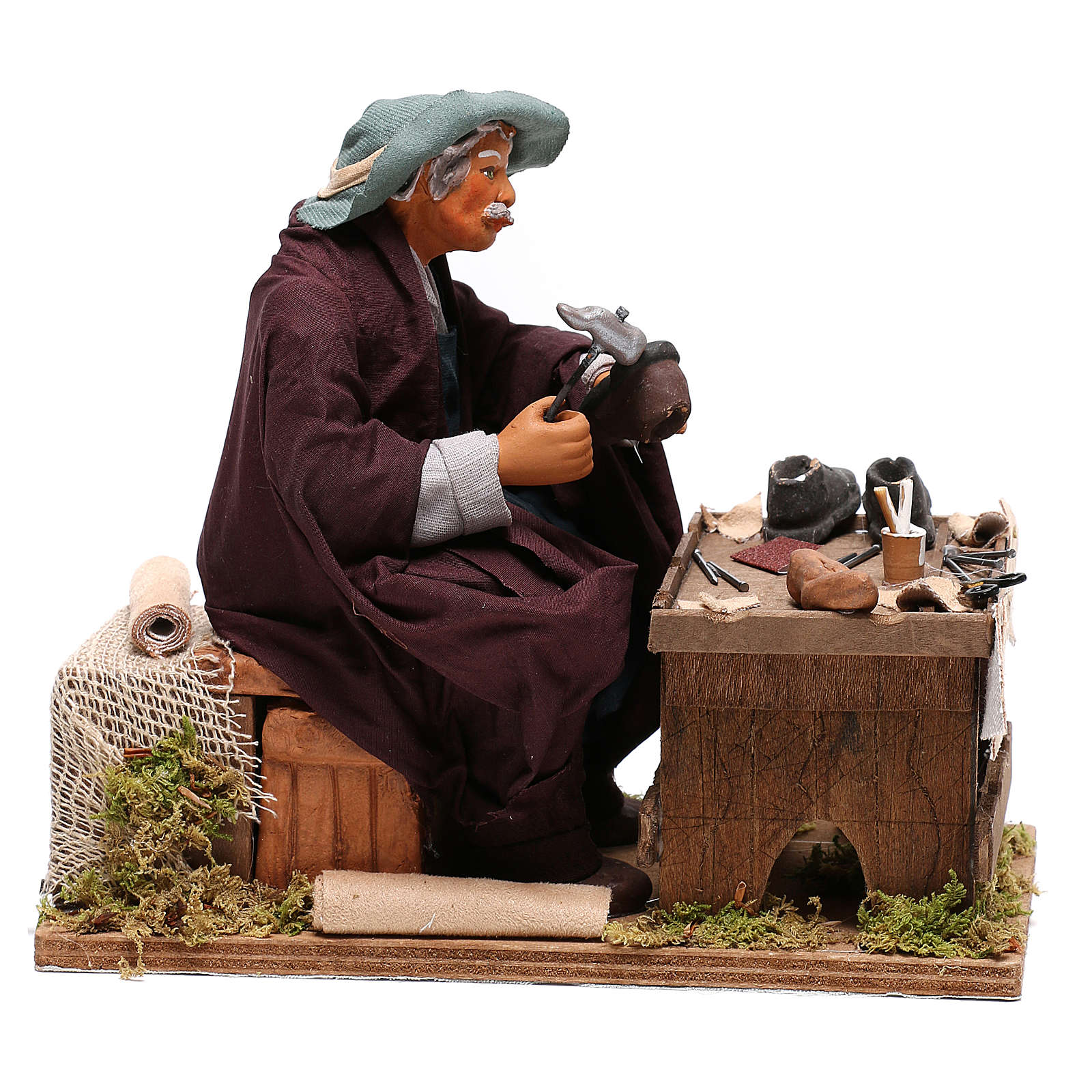 Neapolitan Nativity figurine, shoemaker with 2 movements 24cm 4