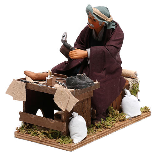 Neapolitan Nativity figurine, shoemaker with 2 movements 24cm 3