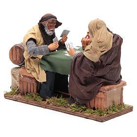 Animated Neapolitan Nativity figurines 2 card players 24cm s3