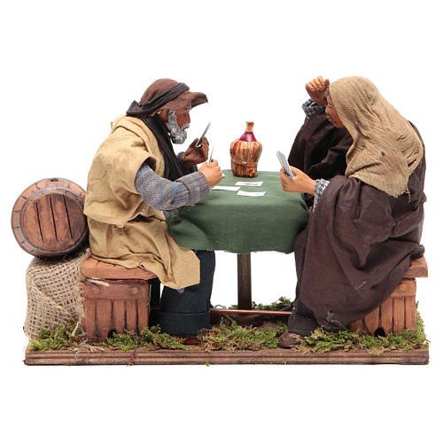Animated Neapolitan Nativity figurines 2 card players 24cm 1