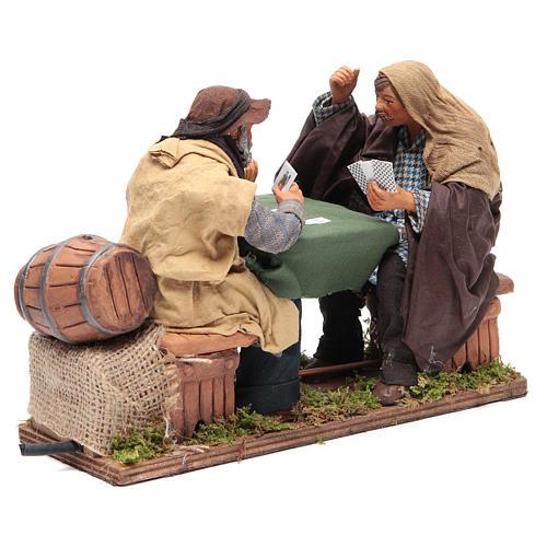 Animated Neapolitan Nativity figurines 2 card players 24cm 2