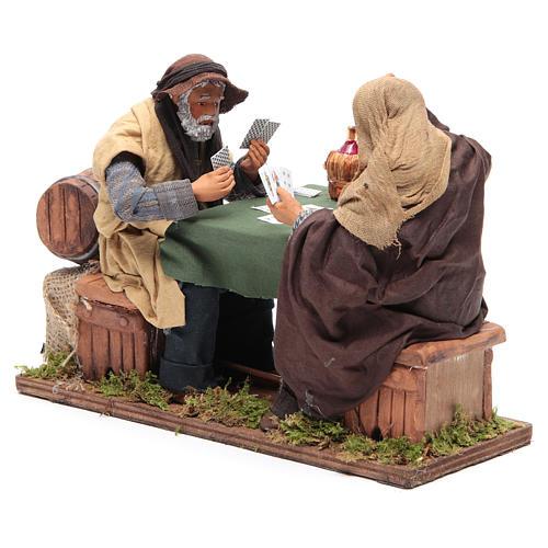 Animated Neapolitan Nativity figurines 2 card players 24cm 3