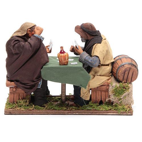 Animated Neapolitan Nativity figurines 2 card players 24cm 4