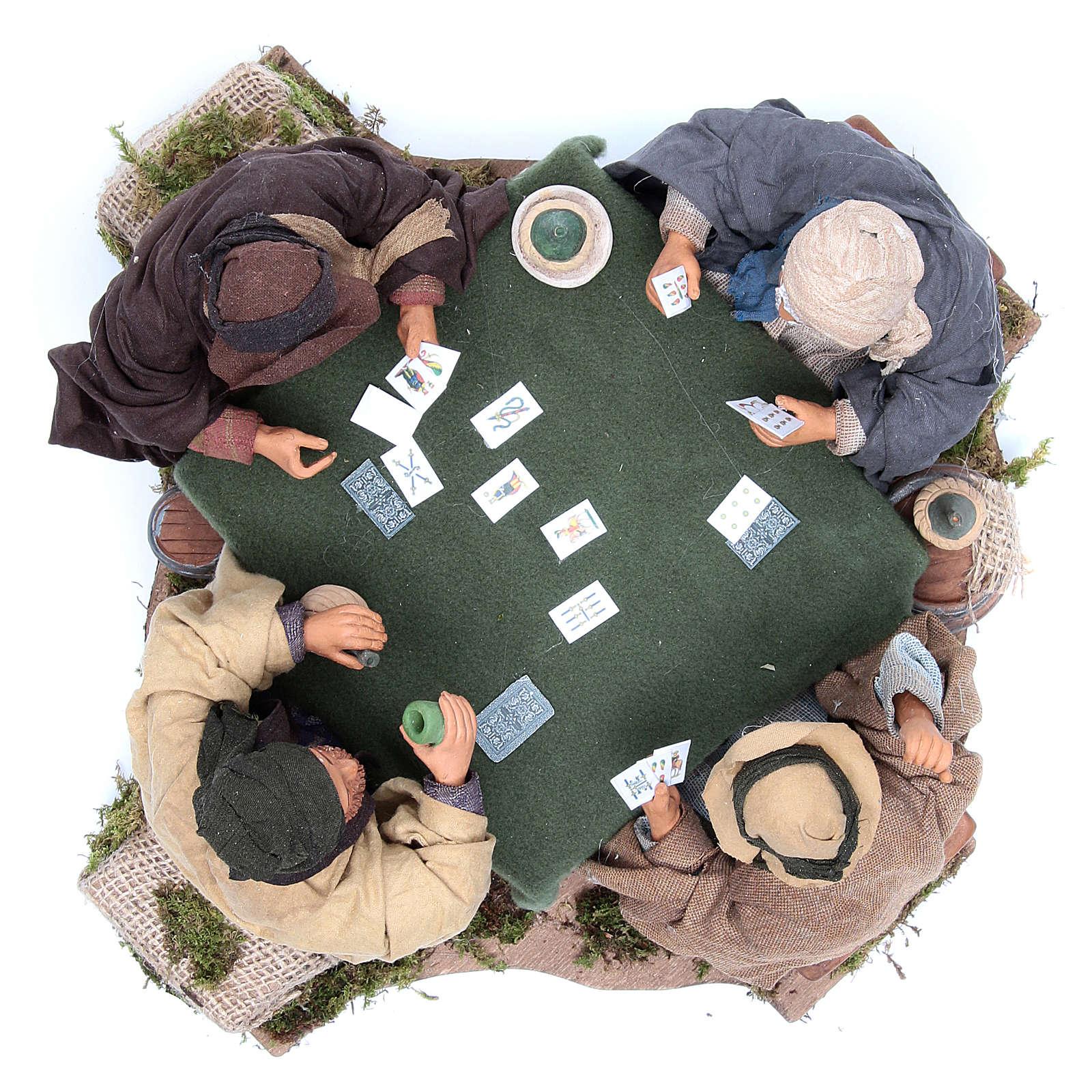 Giocatori di carte 4 personaggi 24 cm movimento presepe Napoli 4
