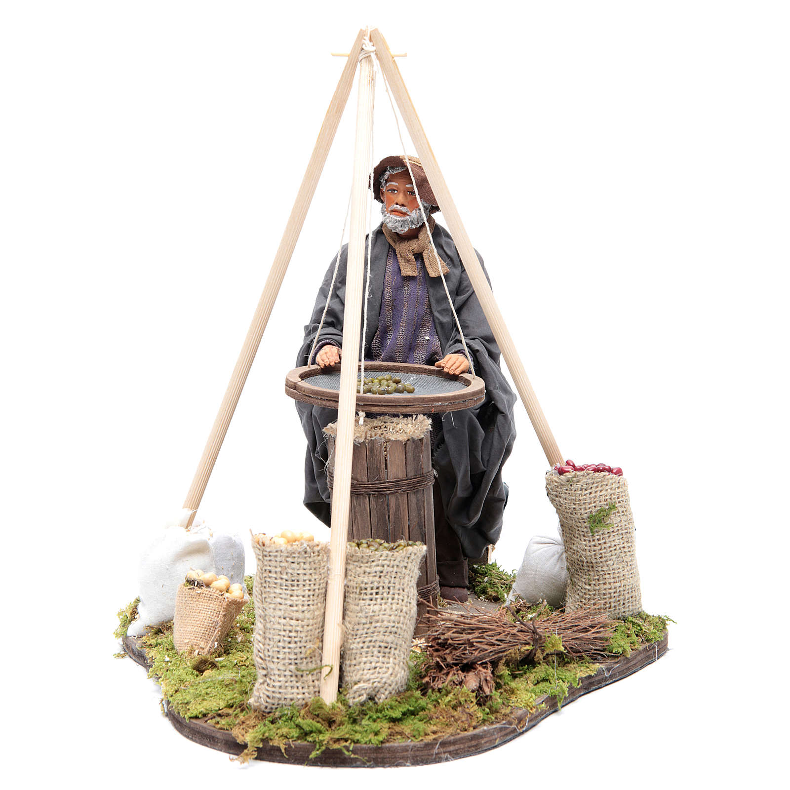Animated Neapolitan Nativity figurine Man with sieve 24cm 4