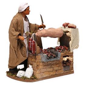 Animated Neapolitan Nativity figurine Man turning hog roast 30cm s3