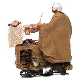 Animated Neapolitan Nativity figurine Man turning hog roast 30cm s4