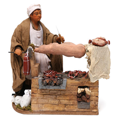 Animated Neapolitan Nativity figurine Man turning hog roast 30cm 1