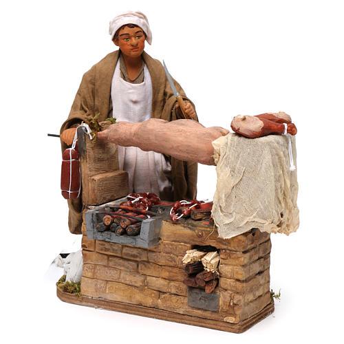 Animated Neapolitan Nativity figurine Man turning hog roast 30cm 2