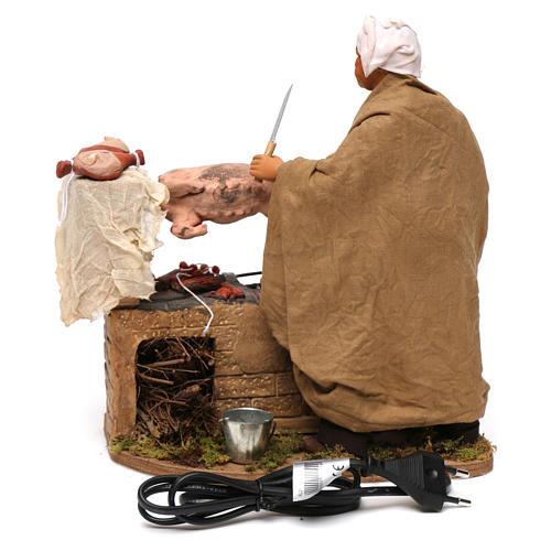 Animated Neapolitan Nativity figurine Man turning hog roast 30cm 4