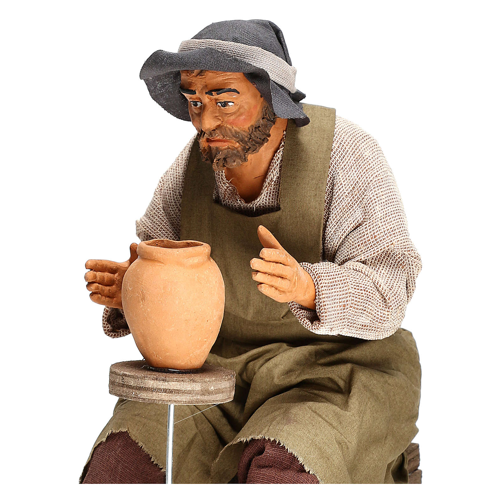 Animated Neapolitan Nativity figurine Man working with ceramics 30cm 4