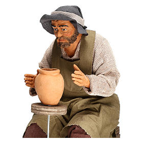 Animated Neapolitan Nativity figurine Man working with ceramics 30cm s2