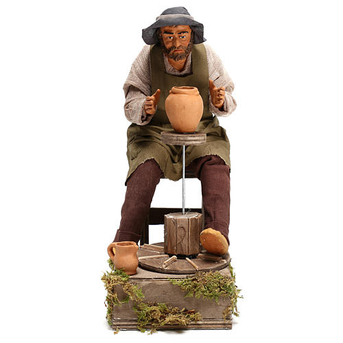 Animated Neapolitan Nativity figurine Man working with ceramics 30cm 1