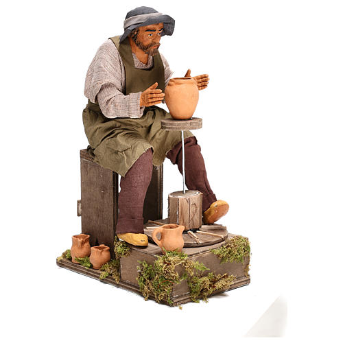Animated Neapolitan Nativity figurine Man working with ceramics 30cm 5