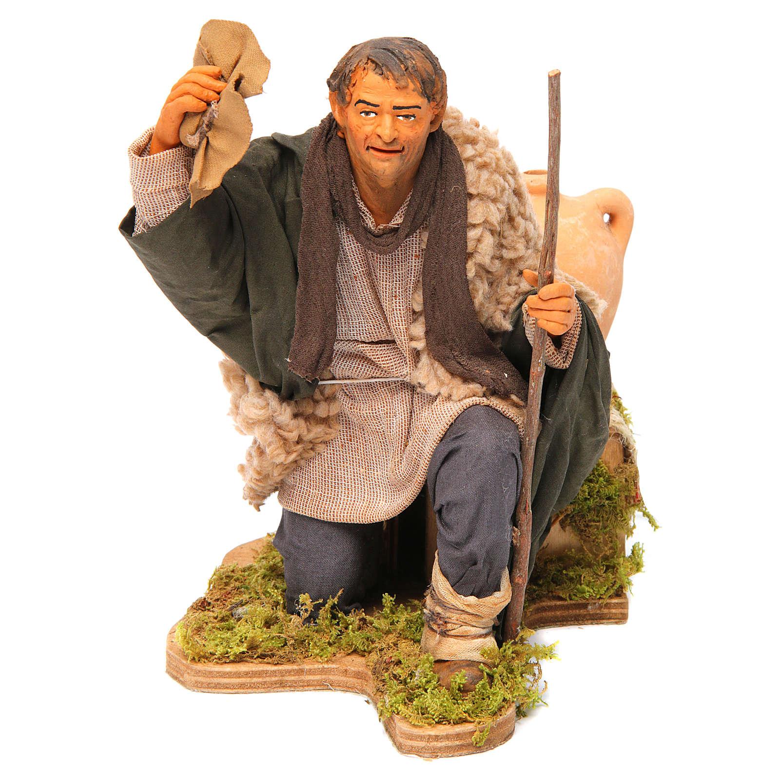 Animated Neapolitan Nativity figurine Man kneeling with hat 30cm 4