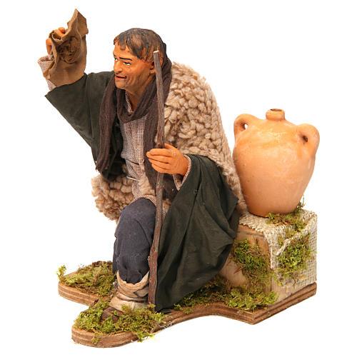Animated Neapolitan Nativity figurine Man kneeling with hat 30cm 2