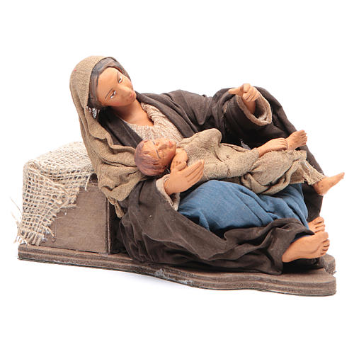 Animated Neapolitan Nativity figurine Mother sitting with child 30cm 3