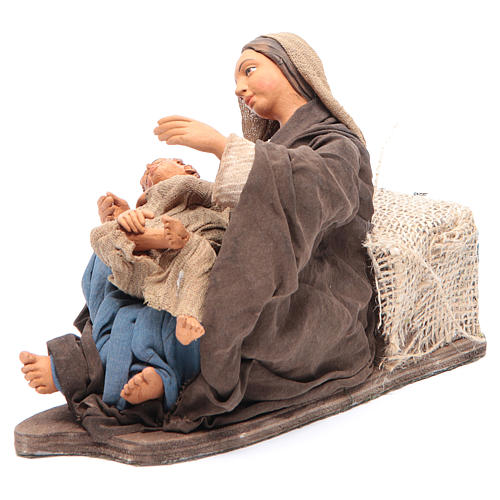 Animated Neapolitan Nativity figurine Mother sitting with child 30cm 4
