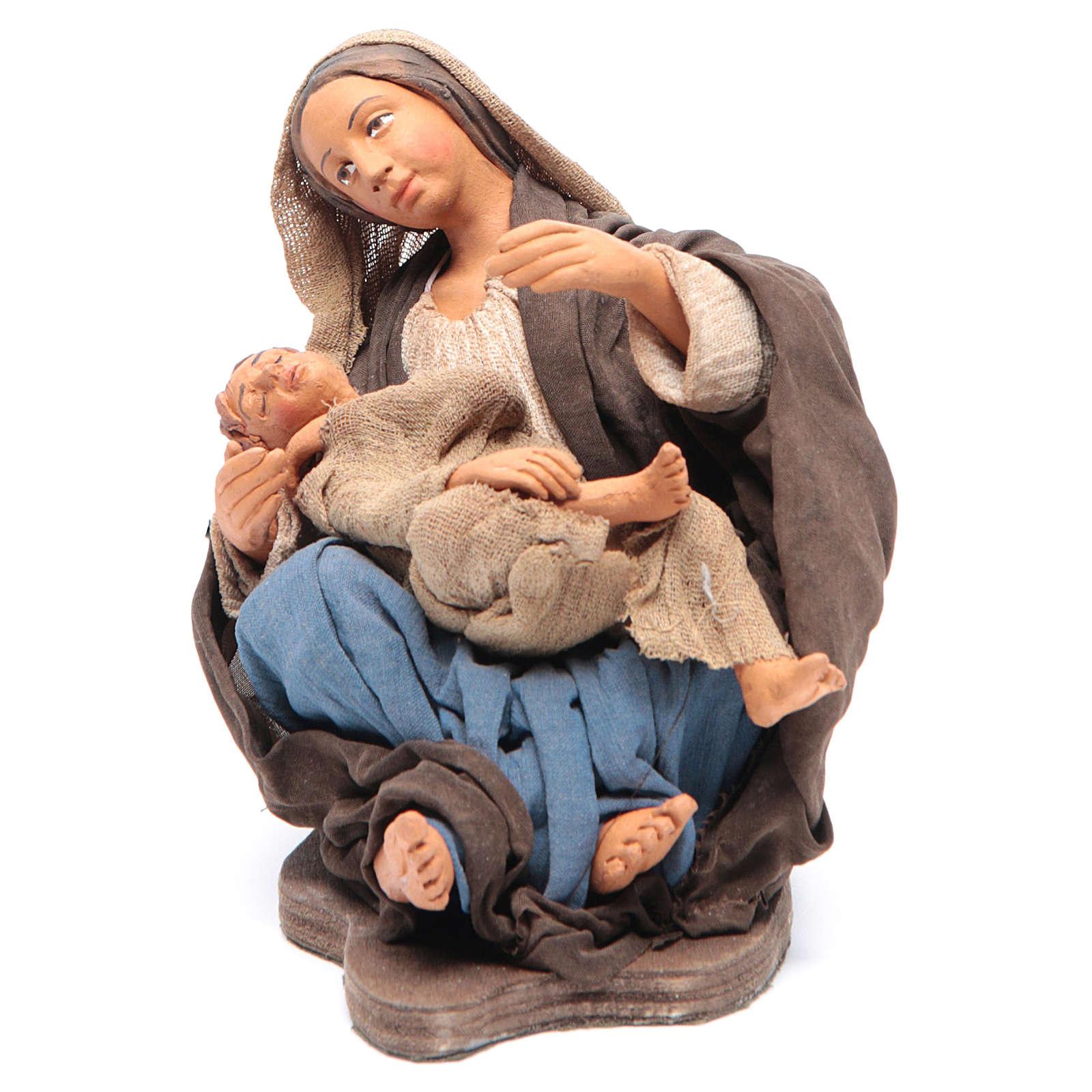 Mamma con bimbo seduta 30 cm movimento presepe Napoli 4
