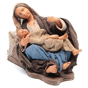 Mamma con bimbo seduta 30 cm movimento presepe Napoli s1