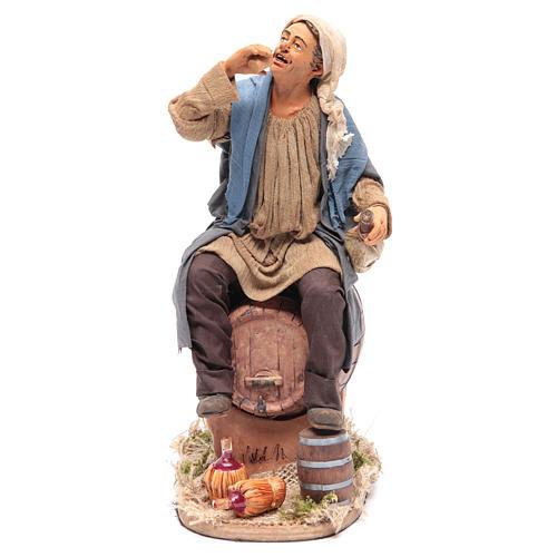 Animated Neapolitan Nativity figurine Drunkard on cask 30cm 1