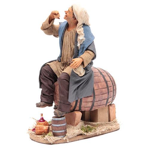 Animated Neapolitan Nativity figurine Drunkard on cask 30cm 2