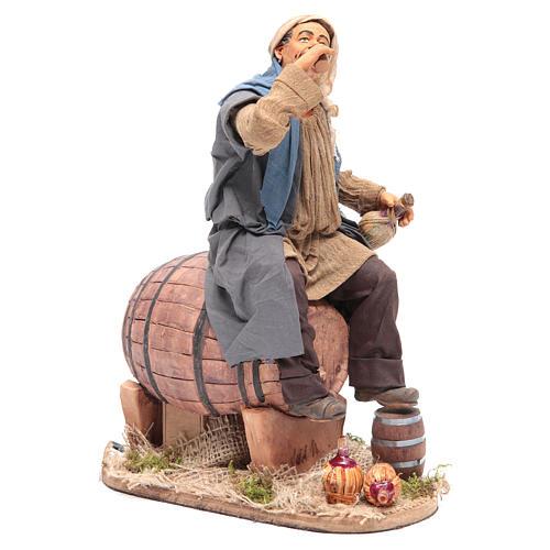 Animated Neapolitan Nativity figurine Drunkard on cask 30cm 3