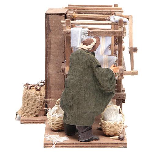 Uomo al telaio 14 cm movimento presepe napoletano 3