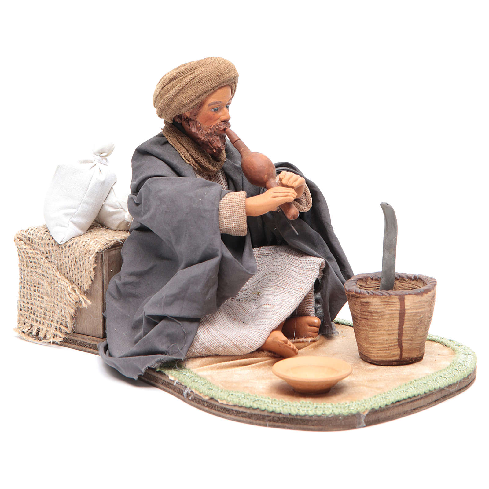 Animated Neapolitan Nativity figurine Snake charmer 24cm 4