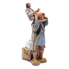 Animated Neapolitan Nativity figurine Man with child on shoulders 24cm s3