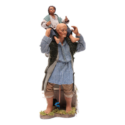 Animated Neapolitan Nativity figurine Man with child on shoulders 24cm 1