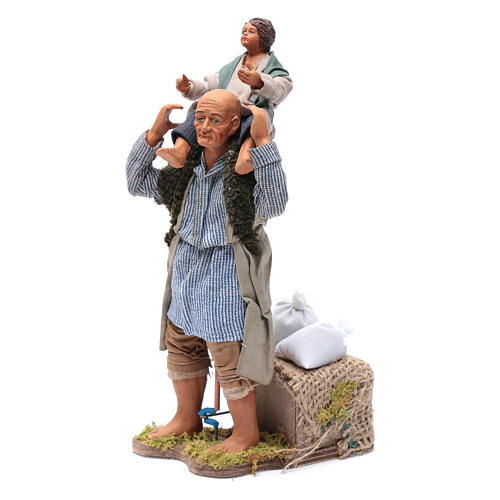 Animated Neapolitan Nativity figurine Man with child on shoulders 24cm 2