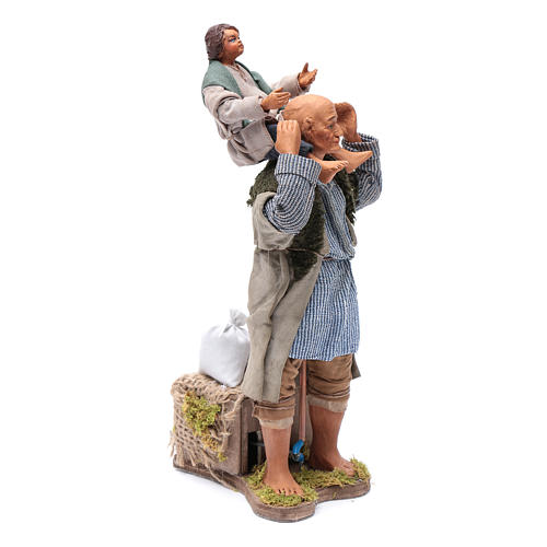 Animated Neapolitan Nativity figurine Man with child on shoulders 24cm 3
